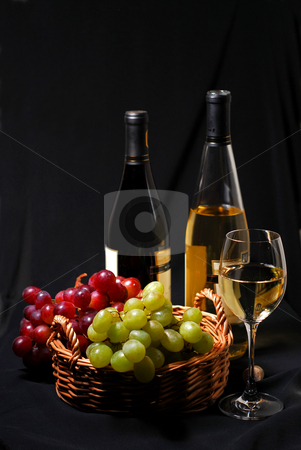 Wine and grapes stock photo, Wine and grapes still life by Elena Elisseeva