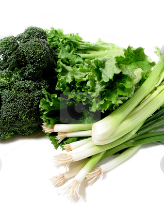 Green vegetables 1 stock photo, Bright green fresh vegetables on white background, space for copy on top and bottom by Elena Elisseeva