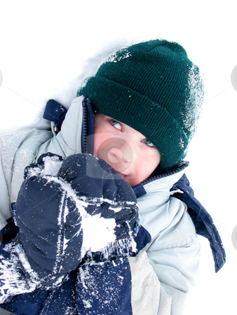 Child fun winter stock photo, Young boy playing in snow by Elena Elisseeva