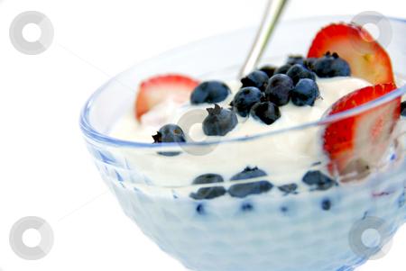 Yogurt and berries in bowl stock photo, Healthy breakfast of yogurt and fresh berries by Elena Elisseeva