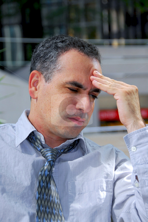 Businessman unhappy stock photo, Portrait of an unhappy stressed businessman thinking by Elena Elisseeva