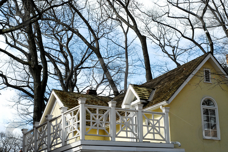 House home balcony stock photo, Yellow house with white balcony surrounded by oak trees by Elena Elisseeva