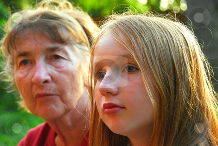 Two women stock photo, Portrait of a grandmother and granddaughter by Elena Elisseeva