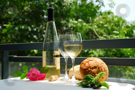 White wine set up stock photo, Table setting with chilled white wine by Elena Elisseeva