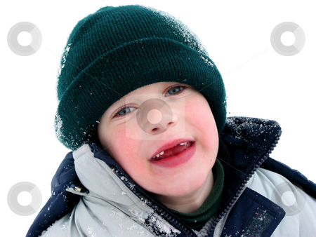 Missing teeth stock photo, Young boy having fun with snow outdoors in winter, front teeth missing by Elena Elisseeva