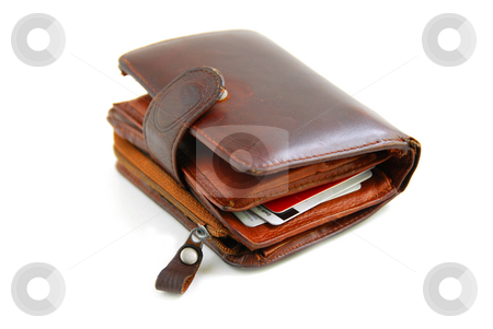 Old wallet stock photo, Old leather wallet full of credit cards on white background by Elena Elisseeva