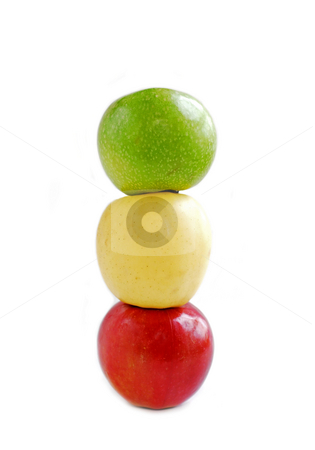 Three apples stock photo, Three apples on white background on top of each other: green, yellow and red by Elena Elisseeva