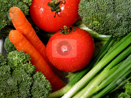 Fresh vegetables 1 stock photo, Fresh vegetables with water droplets by Elena Elisseeva