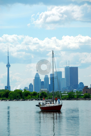Toronto city skyline stock photo, Toronto city skyline with a sailboat by Elena Elisseeva