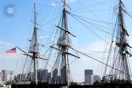 USS Constitution stock photo, Masts of USS Constitution with Boston skyline in the background by Elena Elisseeva