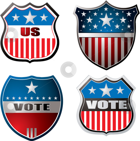 Vote shield stock photo, American inspired shields in red white and blue by Michael Travers