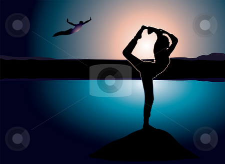 Yoga rock stock photo, Yoga on a rock that is hanging over a lake with a man jumping into the water by Michael Travers