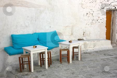 Island Patio stock photo, The little patio of a Greek island (Mykonos) coffee shop / bar by Georgios Alexandris