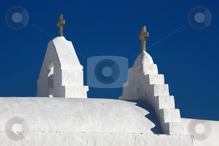 Island Church Detail stock photo, Detail (crosses) from the top of a typical Greek Orthodox Church of Mykonos island by Georgios Alexandris