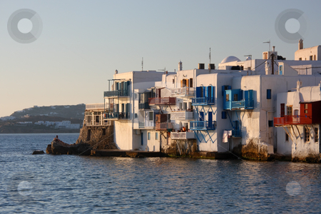 Mykonos Town at Late Afternoon stock photo, A view of the Mykonos town (