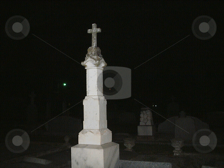 Spirit Orbs stock photo, Orbs floating around tombstones in cemetery by Marburg