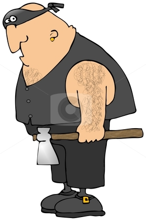 The Executioner stock photo, This illustration depicts a man in a mask and leather vest holding a large axe. by Dennis Cox