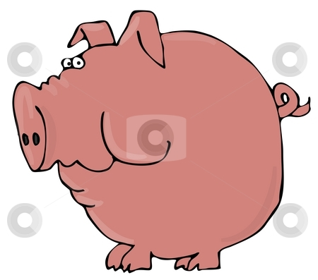 Worried Pig stock photo, This illustration depicts a large pig with a worried expression. by Dennis Cox