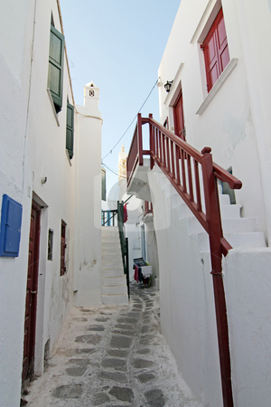 Mykonos Island Alley stock photo, A typical narrow alley in the town of Mykonos, Greece by Georgios Alexandris