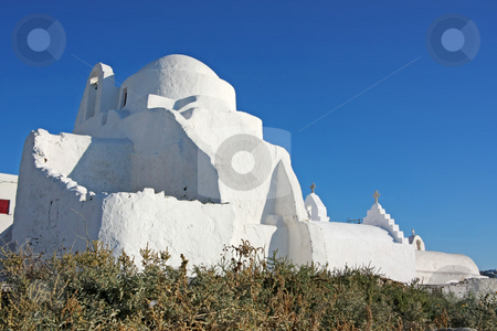 White Church stock photo, A totally white church in the Greek island of Mykonos by Georgios Alexandris
