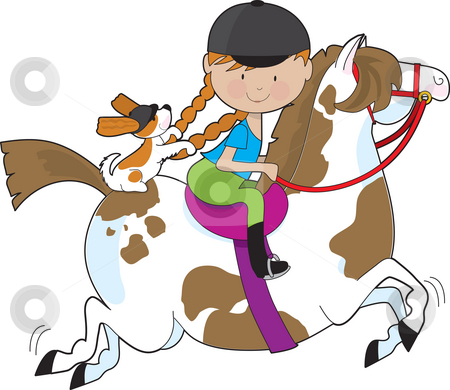 Horsey Holly stock photo, A little girl riding a painted pony with a Cavalier King Charles Spaniel sitting behind her and holding on to her braids by Maria Bell