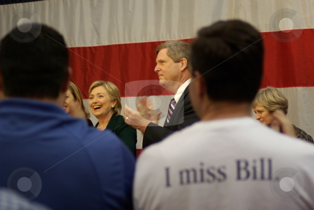 I Love Bill stock photo, Hillary Clinton campaigns in Iowa for the Democratic presidential nomination, but some of the turnout had different thoughts. by Dennis Thomsen