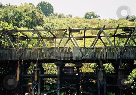 Old Wooden Bridge stock photo, Broken old wooden bridge by Marburg