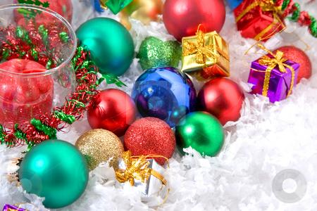 Christmas ornaments stock photo, X-mas ornaments sitting on fake snow by Jose Wilson Araujo