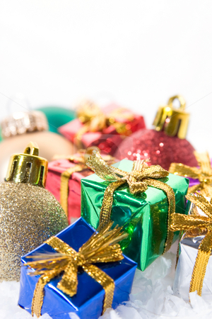 Xmas ornaments and presents stock photo, Christmas ornaments and decorations with tiny presents mixed in. by Jose Wilson Araujo