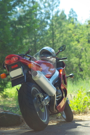 600cc Mountain Bike stock photo, Red sportbike taking a break while crusing the high mountain forest roads. by Lynn Bendickson
