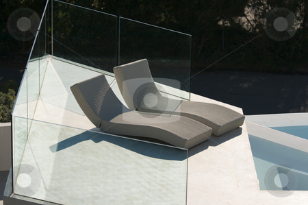 Custom Luxury Pool and Chairs stock photo, Custom Luxury Pool and Chairs Abstract by Andy Dean