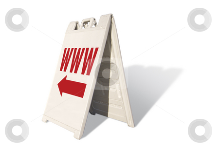 WWW Tent Sign stock photo, WWW Tent Sign Isolated on a White Background. by Andy Dean