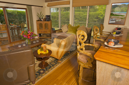 Tropical Living Room stock photo, Tropical Living Room and Wood Counter by Andy Dean
