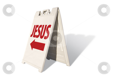 Jesus Tent Sign stock photo, Jesus Tent Sign Isolated on a White Background. by Andy Dean