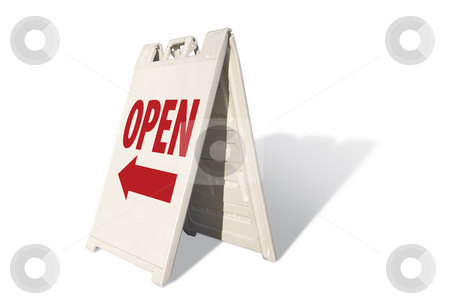 Open Tent Sign stock photo, Open Tent Sign Isolated on a White Background. by Andy Dean