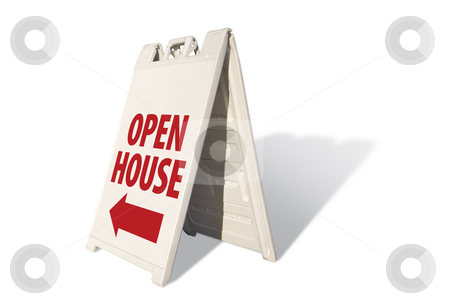 Open House Tent Sign stock photo, Open House Tent Sign on A White Background with room for logo or text above.. by Andy Dean
