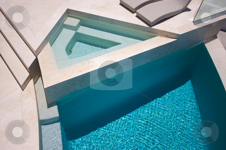 Custom Luxury Pool and Chairs Abstract stock photo, Custom Luxury Pool and Chairs Abstract by Andy Dean