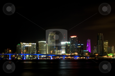 Downtown Miami Skyline at Night stock photo, Color shot of the Miami Skyline at night, taken from Watson Island. by Justin Rosenberg