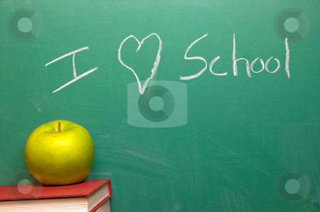 I Love School stock photo, I Love School written on a chalkboard. by Robert Byron