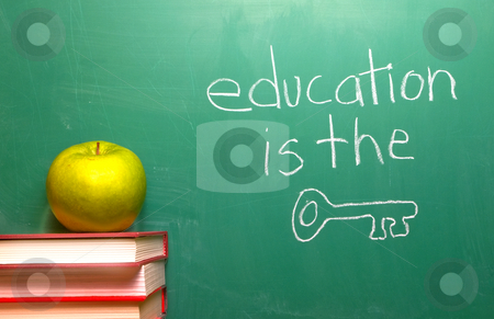 Education is the Key stock photo, Education is the Key written on a chalkboard. by Robert Byron