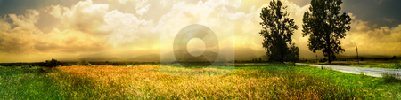 Wide landscape stock photo, Wide landscape with road in a summer day by Adrian Costea