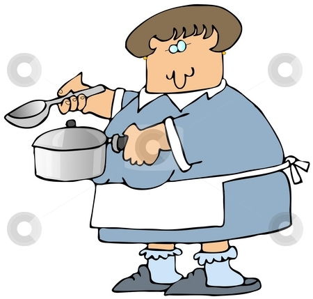 Woman Cooking Soup stock photo, This illustration depicts a woman holding a soup pot and ladle. by Dennis Cox