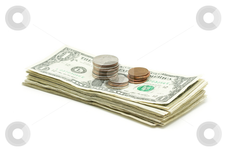Stack of Money & Coins stock photo, Stack of Money & Coins Isolated on a White Background. by Andy Dean