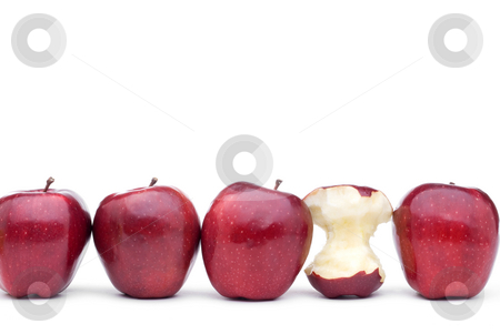 Red delicious apples with on eaten apple  stock photo, Red apples line up on a white background with on eeaten apple by Vince Clements