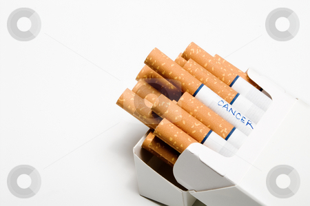 Pack of Cancer stock photo, Cigarettes in a white box without the surgeon generals warning. by Robert Byron
