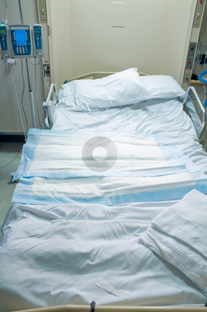 Hospital Room stock photo, A medical patient's bed in a hospital. by Robert Byron