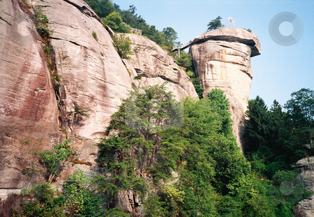 Chimney Rock stock photo, View of Chimney Rock from the ground.  This is a natural rock formation by Marburg