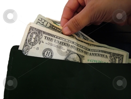 Pulling money stock photo, A hand pulling money from a wallet isolated on white by Michelle Bergkamp