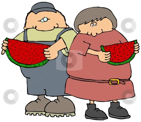 Eating Watermelon stock photo, This illustration depicts a boy and girl eating large slices of watermelon. by Dennis Cox