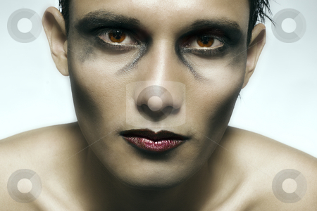 Indonesian young man made scary stock photo, Studio portrait of mixed race young man with extreme make-up by Frenk and Danielle Kaufmann